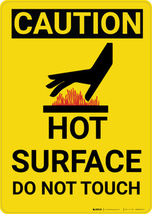 Caution: Hot Surface Do Not Touch Warning Vertical With Graphic - Wall Sign