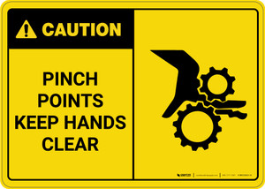 Caution: Warning Pinch Points Keep Hands Clear - Wall Sign