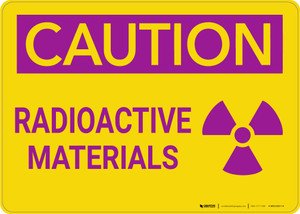 Caution: Warning Radioactive Materials - Wall Sign