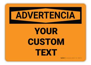 Custom OSHA Spanish Warning Sign
