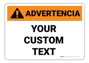Custom ANSI Spanish Warning Sign