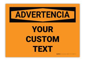 Custom OSHA Spanish Warning Label