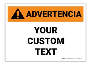 Custom ANSI Spanish Warning Label