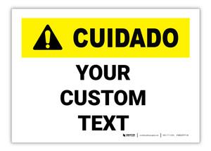 Custom ANSI Spanish Caution (Cuidado) Label