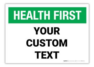 Custom Health First Label