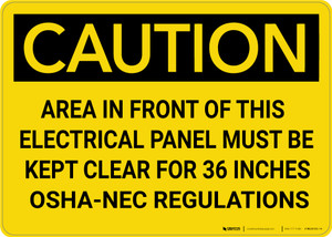 Caution: NEC Regulations Keep Clear of Electrical Panel - Wall Sign