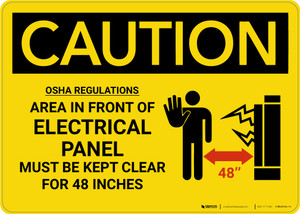 Caution: Electrical Panel Keep Clear  With Graphic - Wall Sign