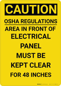Caution: OSHA Regulations Electrical Panel 48 Inches - Wall Sign