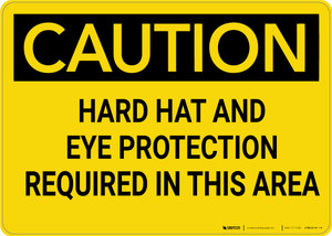 Caution: Hard Hat and Eye Protection Required In Area - Wall Sign