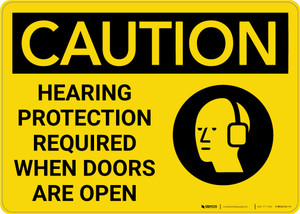 Caution: Hearing Protection Required When Doors Open - Wall Sign