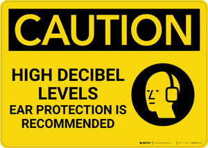 Caution: High Decibel Levels Ear Protection Recommended - Wall Sign