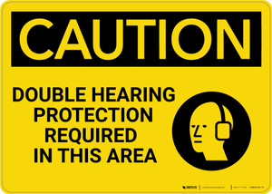 Caution: PPE Double Hearing Protection Required in This Area - Wall Sign