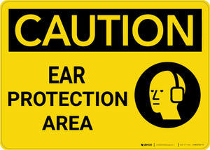 Caution: PPE Ear Protection Area With Graphic - Wall Sign