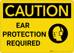 Caution: PPE Ear Protection Required with Graphic - Wall Sign