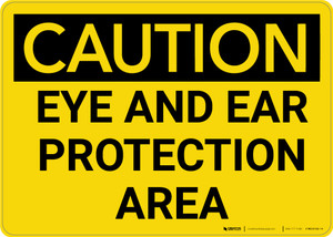 Caution: PPE Eye and Ear Protection Area - Wall Sign