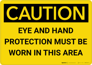 Caution: PPE Eye and Hand Protection Must be Worn in Area - Wall Sign
