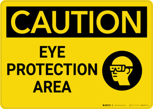 Caution: PPE Eye Protection Area with Graphic - Wall Sign