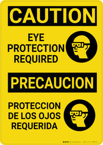 Caution: PPE Eye Protection Required With Graphic Bilingual Spanish - Wall Sign