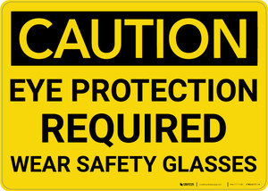 Caution: PPE Eye Protection Required Wear Safety Glasses - Wall Sign