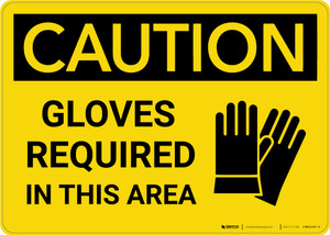 Caution: PPE Gloves Required in This Area - Wall Sign