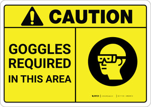 Caution: PPE Goggles Required in This Area ANSI - Wall Sign