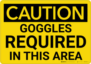 Caution: PPE Goggles Required in This Area - Wall Sign