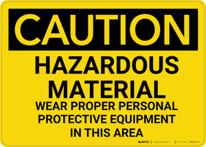 Caution: PPE Hazardous Material Wear PPE in This Area - Wall Sign