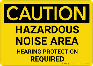 Caution: PPE Hazardous Noise Area Hearing Protection Required - Wall Sign