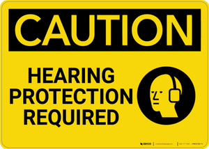 Caution: PPE Hearing Protection Required with Graphic - Wall Sign