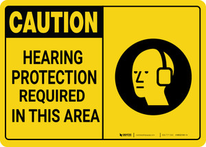 Caution: PPE Hearing Protection Required in This Area with Graphic - Wall Sign