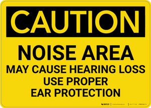Caution: PPE Noise Area May Cause Hearing Loss Use Hearing Protection - Wall Sign