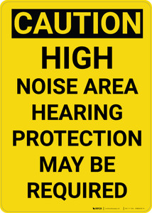 Caution: PPE High Noise Area Hearing Protection May be Required Vertical - Wall Sign