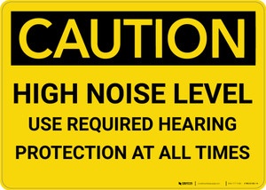 Caution: PPE High Noise Level Use Required Hearing Protection - Wall Sign