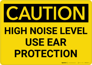 Caution: PPE High Noise Level Use Ear Protection - Wall Sign