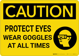 Caution: PPE Protect Eyes Wear Goggles At All Times - Wall Sign