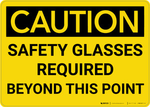 Caution: PPE Safety Glasses Required Beyond This Point - Wall Sign