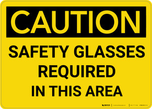 Caution: PPE Safety Glasses Required in This Area - Wall Sign