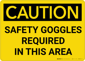 Caution: PPE Safety Goggles Required in This Area - Wall Sign