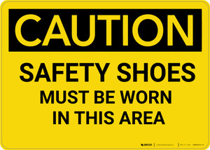 Caution: PPE Safety Shoes Must Be Worn in This Area - Wall Sign