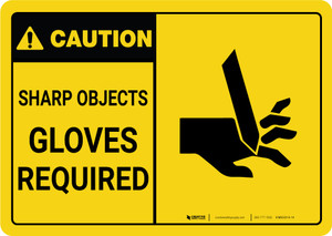 Caution: PPE Sharp Objects Gloves Required With Graphic - Wall Sign