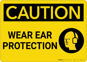 Caution: PPE Wear Ear Protection With Graphic - Wall Sign
