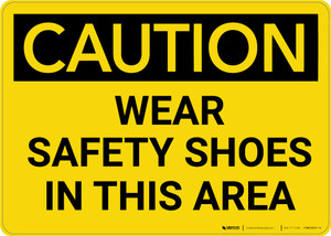 Caution: PPE Wear Safety Shoes in This Area - Wall Sign