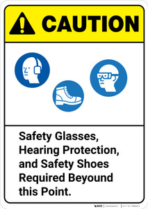 Caution: Safety Glasses Hearing Protection Shoes Required ANSI - Wall Sign