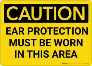Caution: PPE Ear Protection Must be Worn in Area - Wall Sign