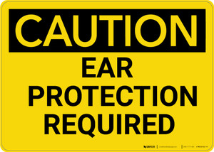 Caution: PPE Ear Protection Required - Wall Sign