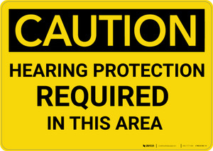 Caution: PPE Hearing Protection Required in this Area - Wall Sign