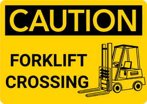 Caution: Forklift Crossing with Graphic - Wall Sign