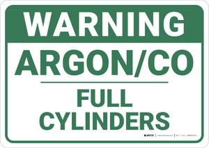 Warning: Argon Co Full Cylinders - Wall Sign