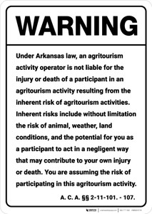 Warning: Arkansas Agritourism Liability AR - Wall Sign