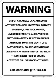 Warning: Arkansas Equine Liability AR - Wall Sign